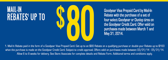 Goodyear & Dunlop Tires - Up to $80 Rebate